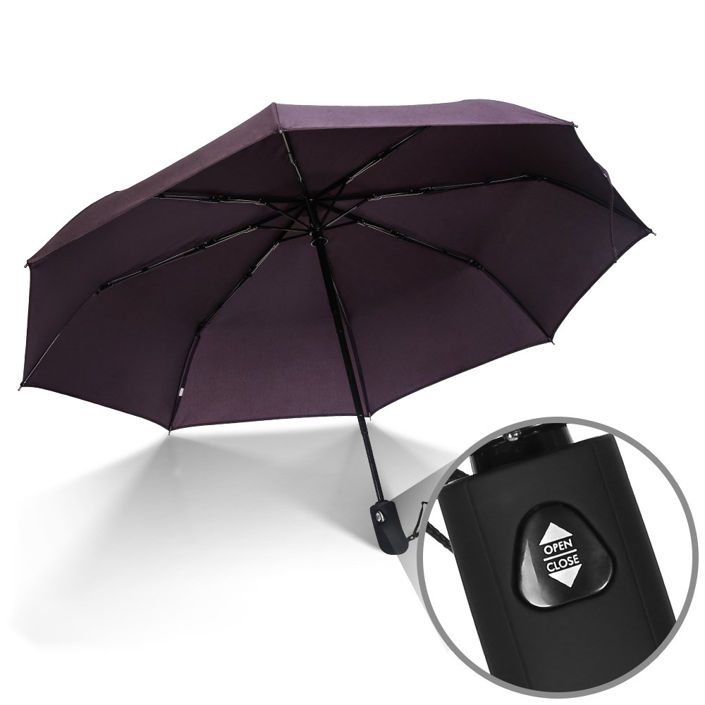 JBM Travel Umbrella Auto Open Compact Folding Sun & Rain Protection Windproof Portable Umbrella for Kids Women Men (Black, Red, Purple) JBM International
