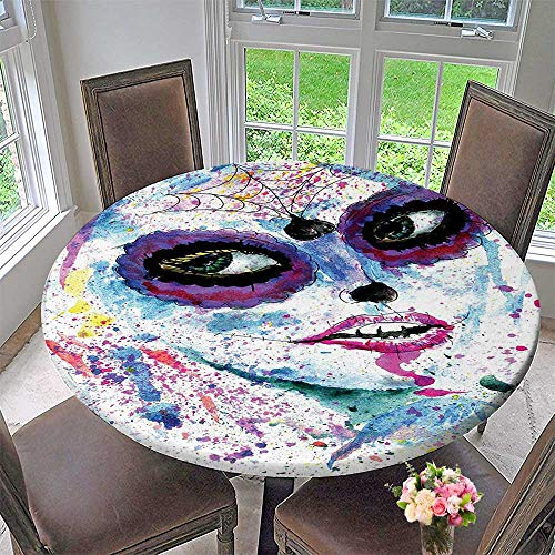 Mikihome Round Tablecloths Grunge Halloween Lady with Sugar Skull Make Up Creepy Dead Face Gothic Woman or Everyday Dinner, Parties 63