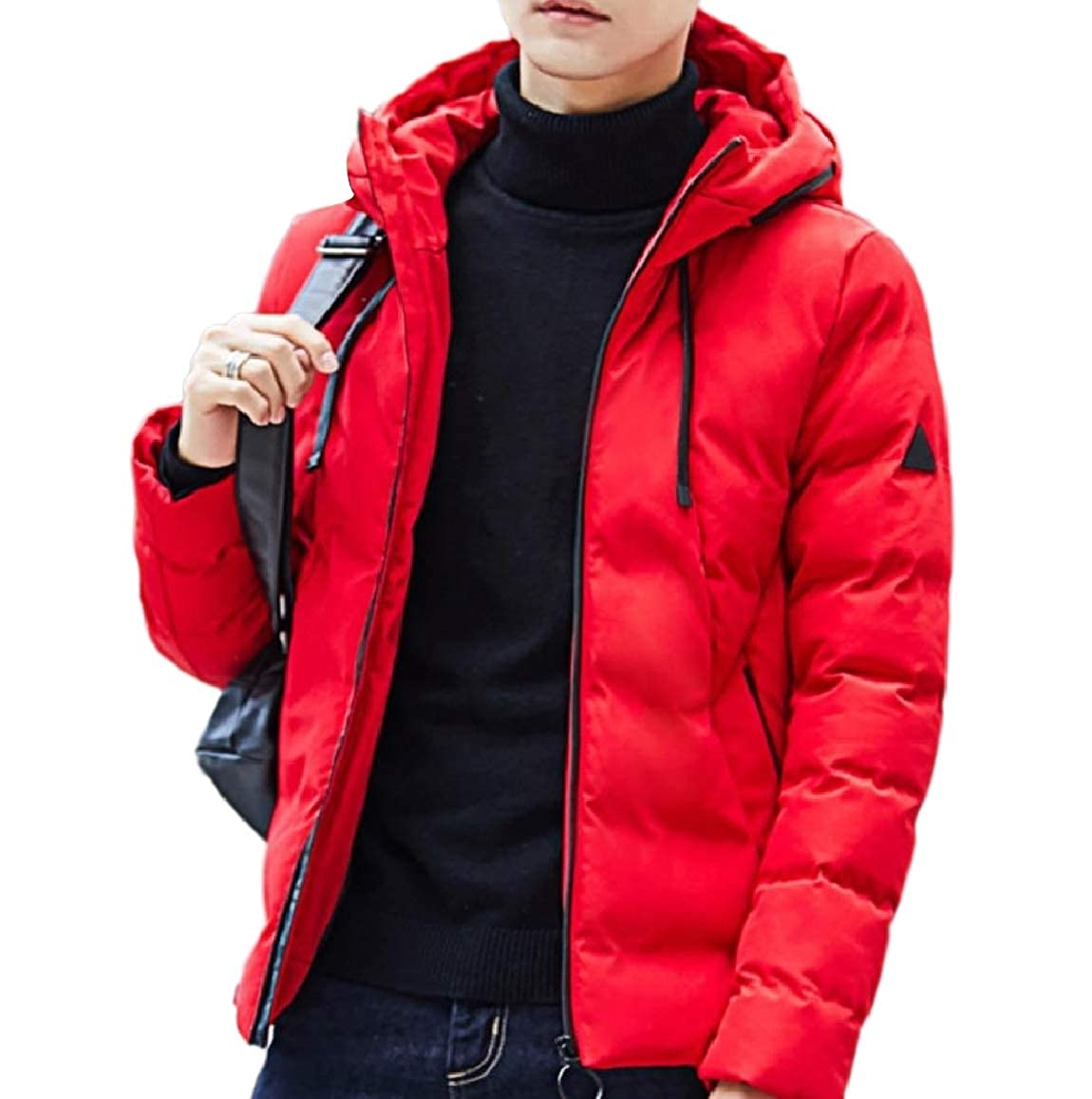 RDHOPE-Men Hoodie Jacket Coat Quilted Thicken Relaxed Padded Parka Outwear