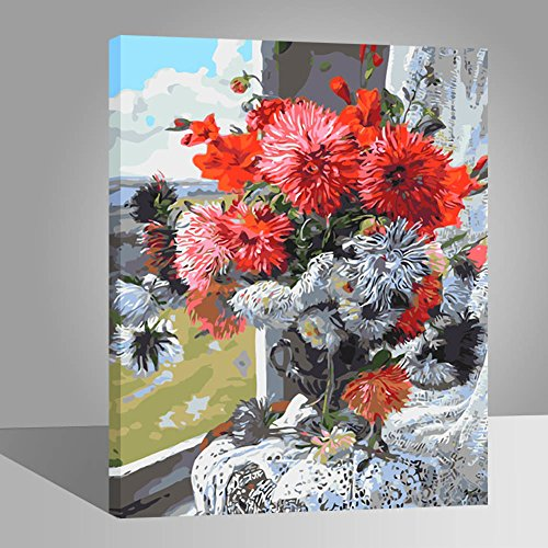 Rihe DIY Oil Painting Paint By Numbers Kits Mounted on Wood Frame with Brushes Painting Kits on Canvas for Adults Kids Flower Theme- Flower 16x20 Inch(With Wood Frame)