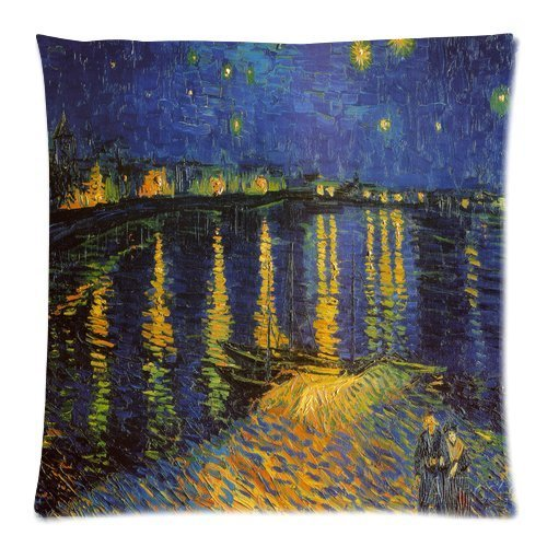 JeremyArtStore 18 x 18 Inches Decorative Cotton Linen Square Throw Pillow Case Cushion Cover Van Gogh Starry Night Over The Rhone - Rhone Cover