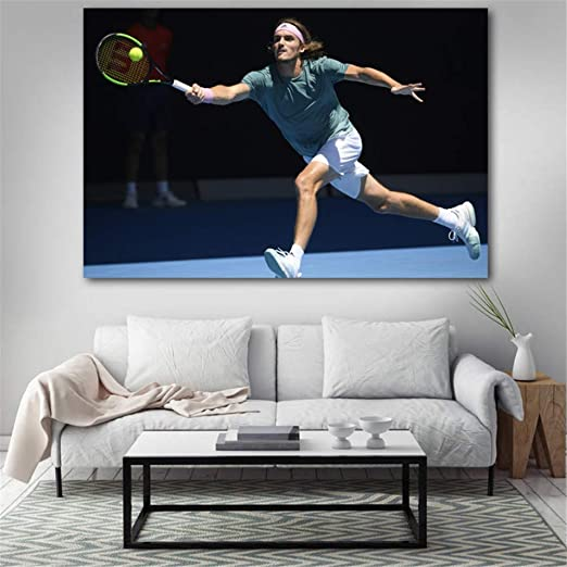 Amazon Com Mxsnow Stefanos Tsitsipas Tennis Sport Wall Art Wall Art Picture Canvas Art Painting Home Room Decor 60x90cm Unframed Posters Prints
