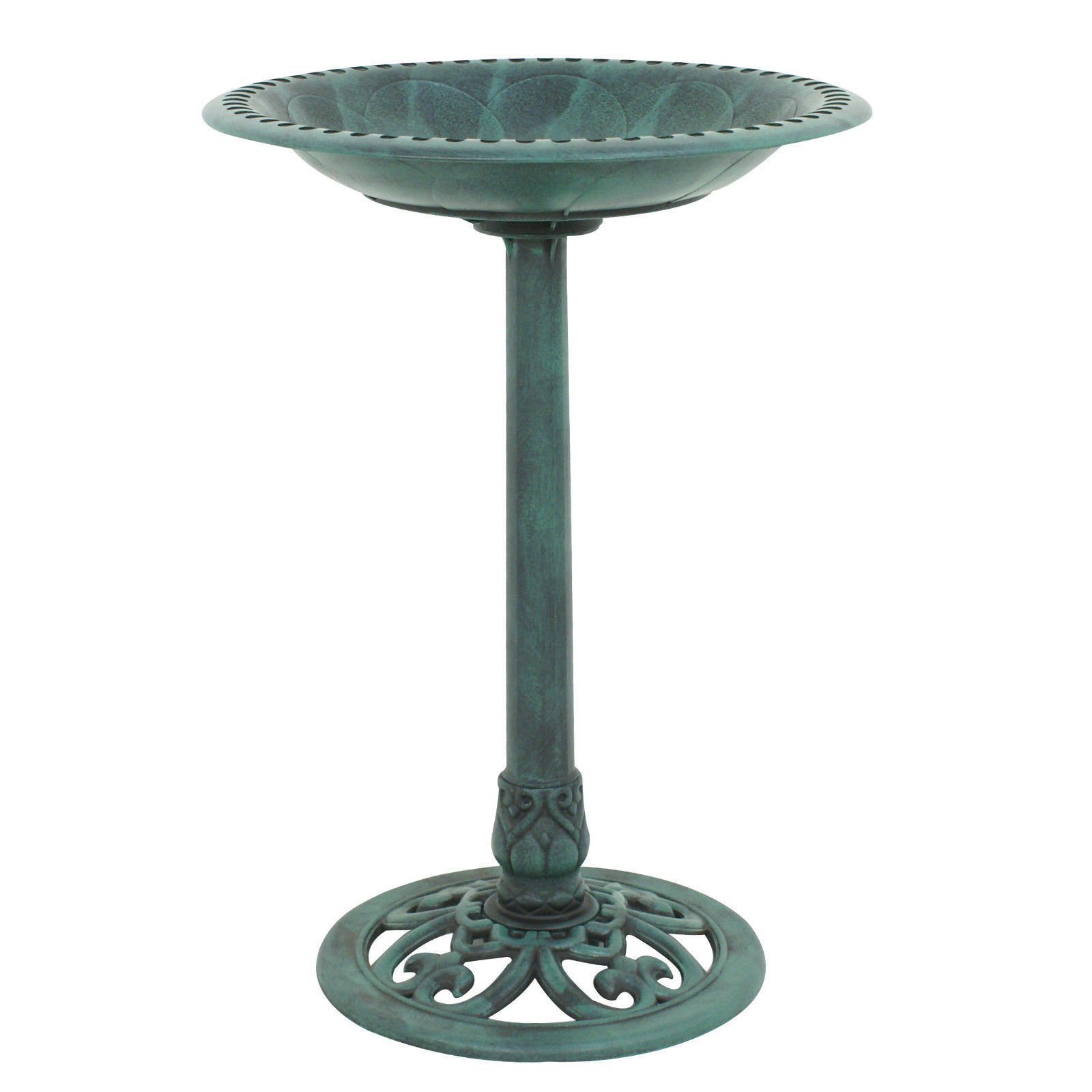 allgoodsdelight365 Green Pedestal Bird Bath Feeder Freestanding Outdoor Garden Yard Patio Decor