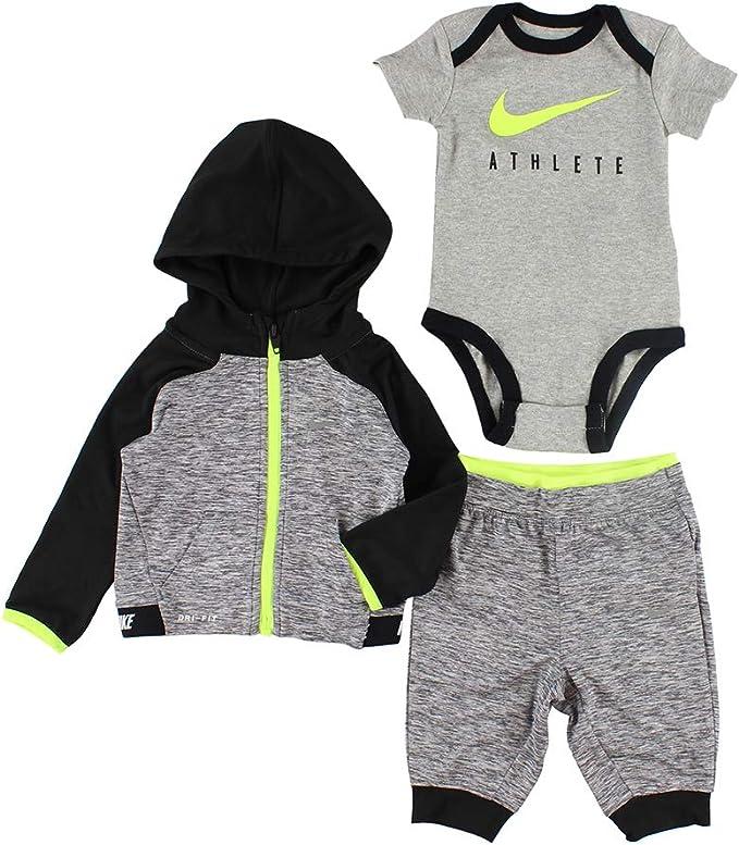 Boys Kids Baby NIKE Long Sleeve Bodysuit Pant Set NEW Size 3 Month Black /& Gray