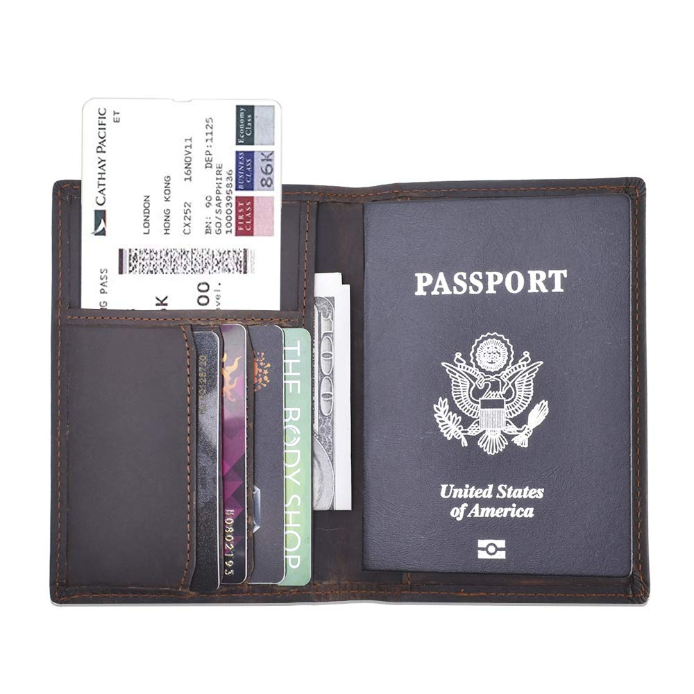 Travel Passport Wallet Rfid Blocking - Black Leather Passport Holder Cover Card Case for Men and Women Multi-purpose Document Organizer Accessories CYANBAMBOO