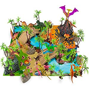100 Piece Dinosaur and Cave Man Prehistoric Playset with Play Mat and Storage Container by Imagination Generation