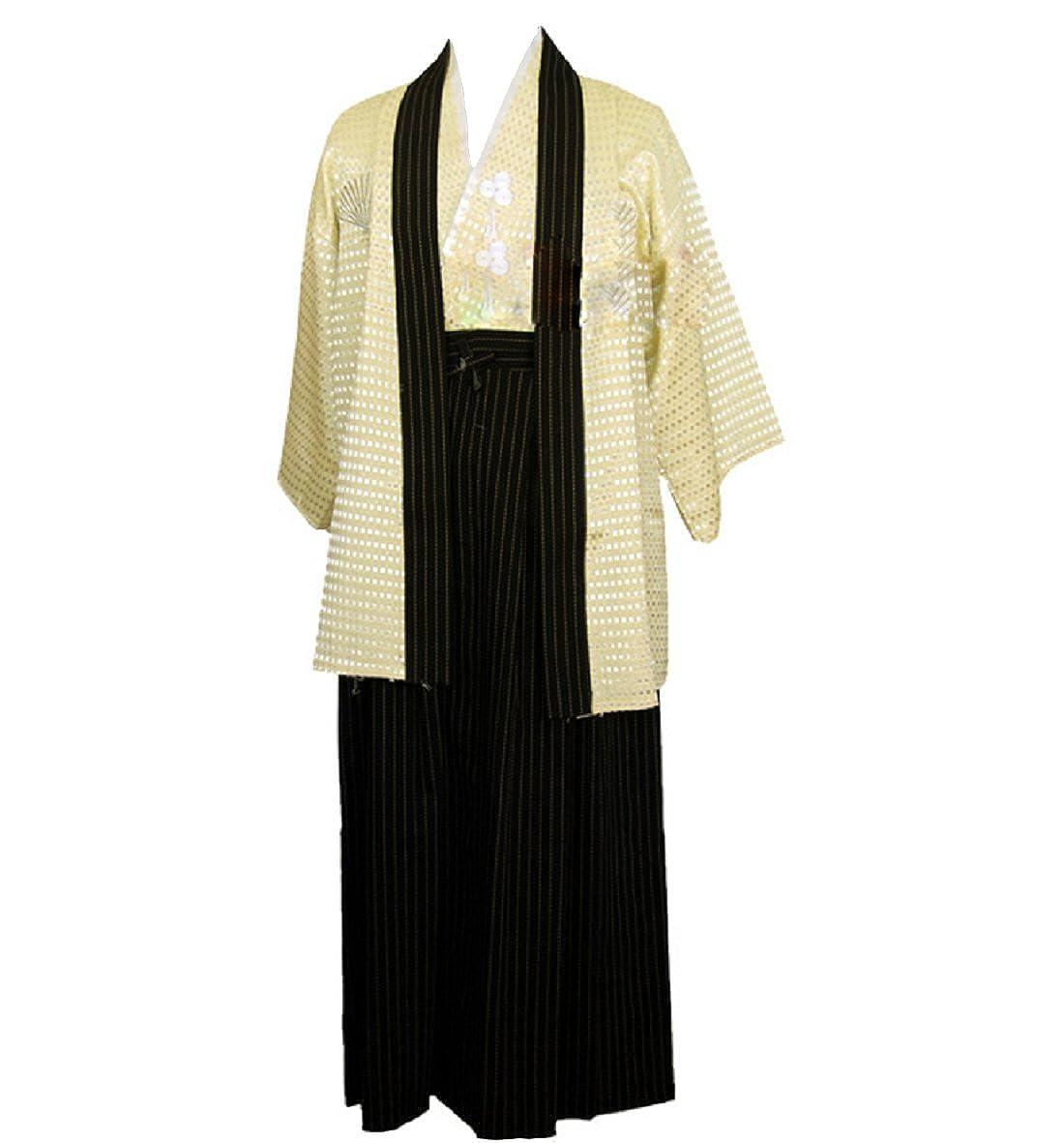 ACVIP Men's Traditional Samurai Japanese Kimono Robe Cosplay Costume