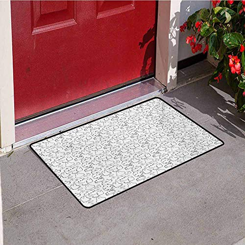 Jinguizi Cat Commercial Grade Entrance mat Lazy Furry Feline Doodles Sleeping Silly Playful Pets Whiskers Sketch Art Monochrome for entrances garages patios W31.5 x L47.2 Inch Black White (Hill Lazy Bell)