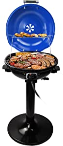 Electric BBQ Grill,Techwood Outdoor / Indoor Stand Grill with Grease Tray, Double Food Rack Grill, 15-Servings , Fast Heating , Double Handle , Easy to Install and Clean the Grill , Durability Grill, 1600W ,Blue