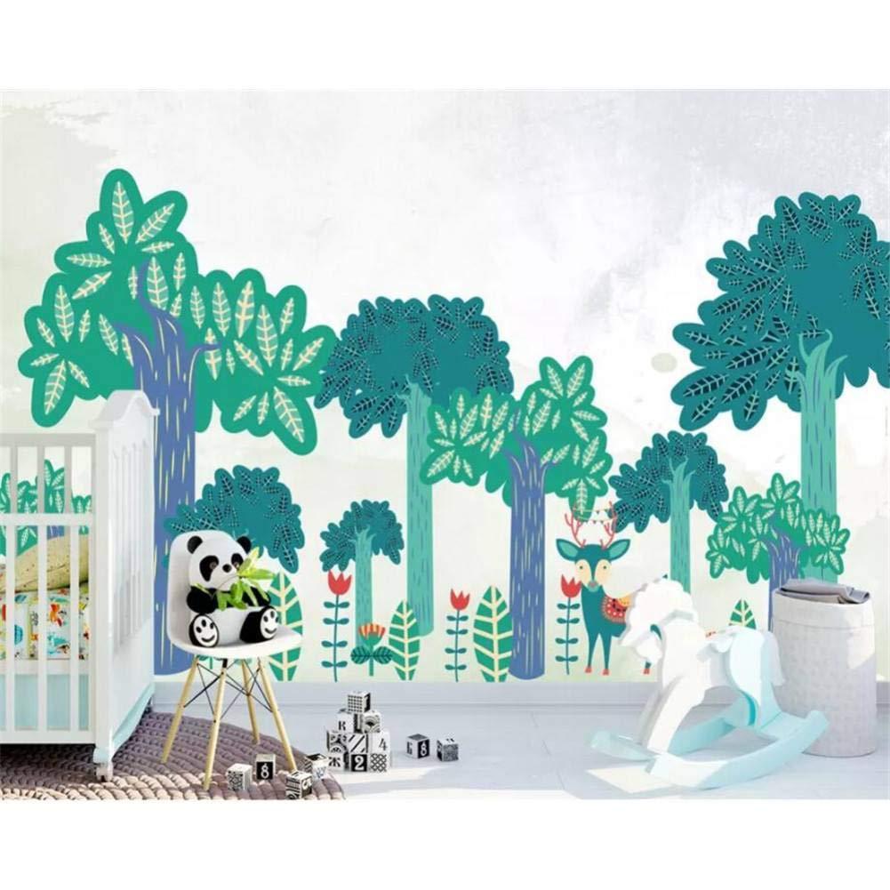 ahorra 50% -75% de descuento YYBHTM Papel Papel Papel Tapiz Fotográfico 3D Big Tree Acuarela Pintado A Mano Ciervo Mural Papel Tapiz Sala De Estar Cartoon Tree Mural 250x175cm  Precio por piso