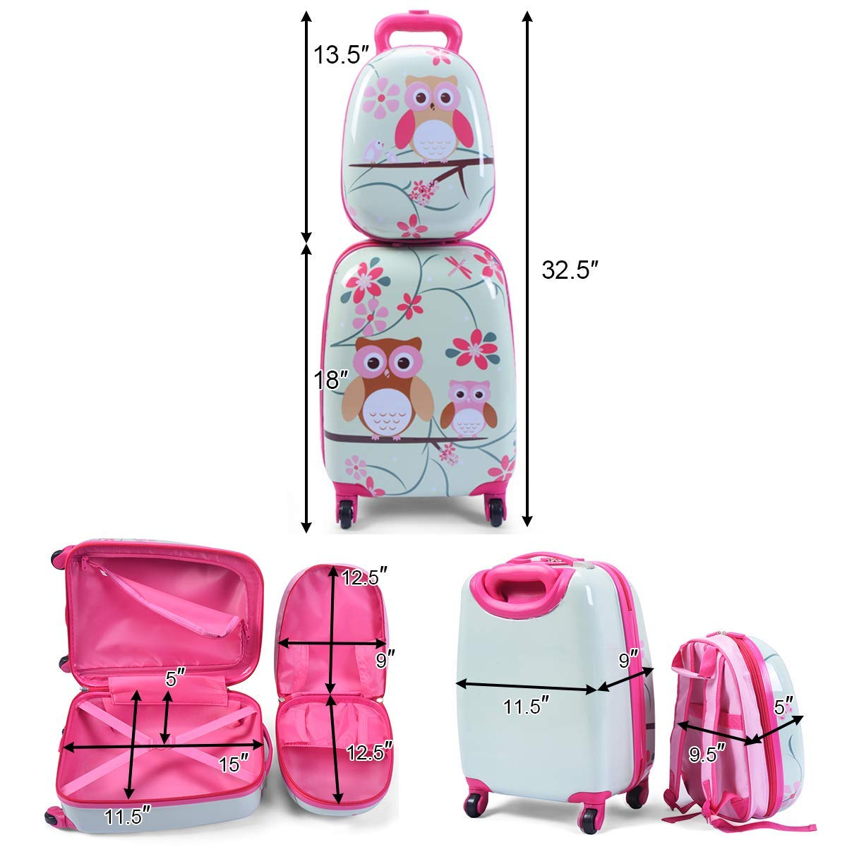 Children Rolling Travel Suitcase Cartoon Car Kids Carry On Set Universal Wheels 18 in Travel Luggage Case for Boys Car