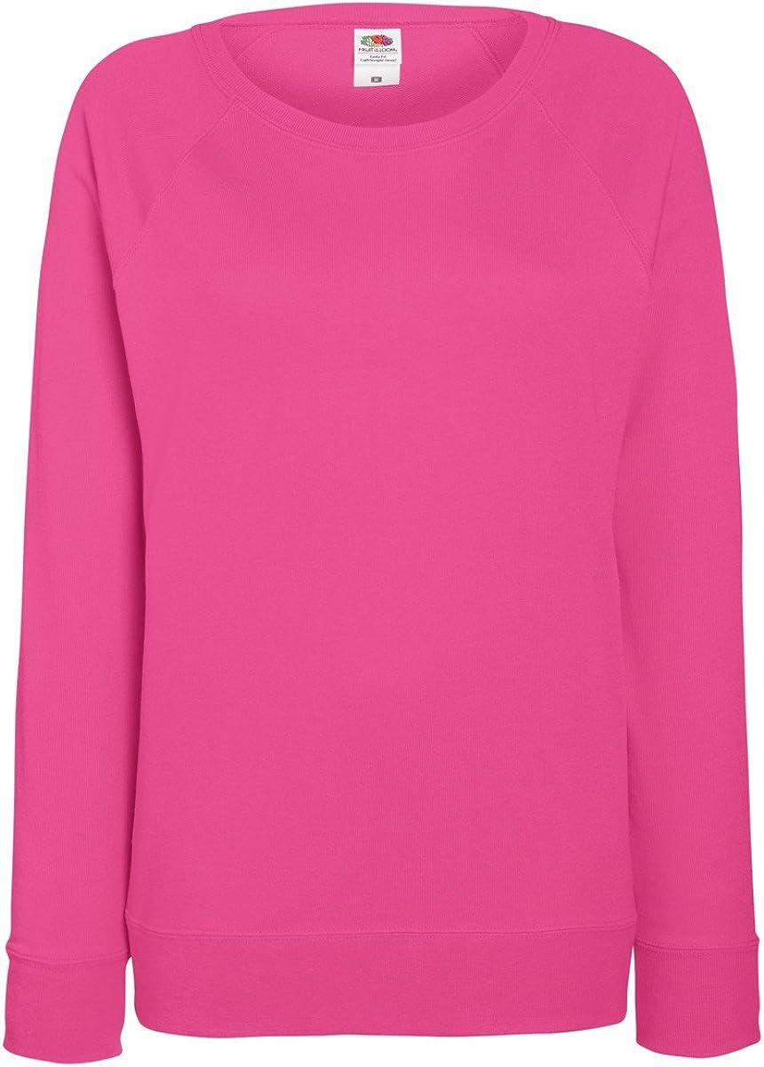 14 Colours//UK Size 8 Fruit of the Loom Ladyfit Lightweight Raglan Sweatshirt