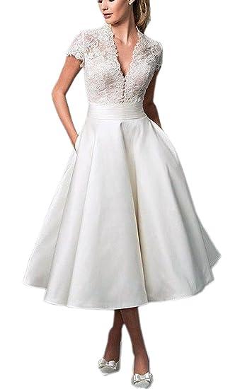 98125fb92849c6 Cloverbridal V-Ausschnitt Kurze Spitzen Satin Hochzeitskleid Brautkleider  Ballkleider Cocktailkleider Teelänge: Amazon.de: Bekleidung
