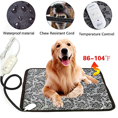 Pet Heating Pad - Dog Cat Electric heated Pad Waterproof Adjustable Winter Warming Animal Mat bed with Chew Resistant Steel Cord Peony Pattern17.7