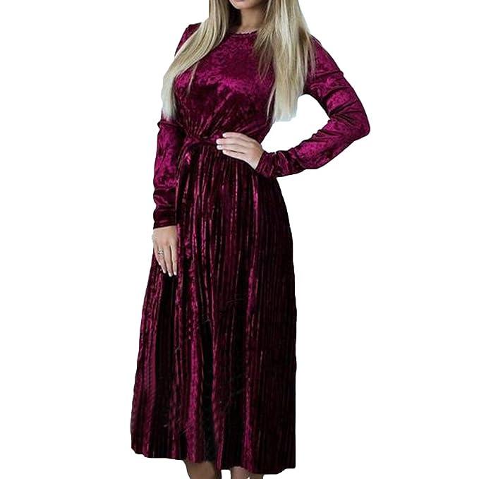 b21addf18 Vestido de Terciopelo para Mujer - Vintage Color Sólido Largo Blusa Manga  Larga Round Collar Casual Suelto Plisado Vestidos Invierno Otoño Tops  Vestidos ...