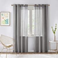 SCM Solid Sheer Ultra Luxurious Faux Linen Voile Window Curtain Sets, Grommet Top, Classical 2 Panel