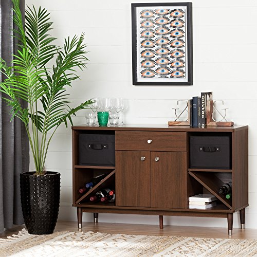 South Shore Olly Mid-Century Modern Sideboard Storage, Brown Walnut