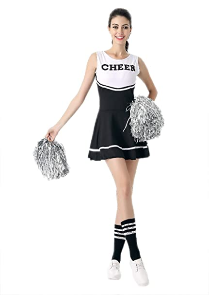 bf657896a6e Amazon.com: JJ-GOGO Cheerleader Costume Women - Sexy Black White ...