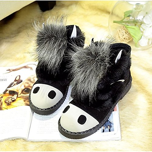 leather Toe for Heel Black Boots Round Winter Boots Flat Shoes Boots ZHZNVX Calf Combat Gray Nubuck Grey Women's Casual Mid HSXZ wvaxqqI7