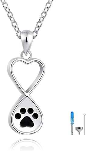 Sterling Silver Animal Remembrance Pendant 925 Silver Pear Pet Ashes Necklace Cat Dog Keepsake Memorial Necklace