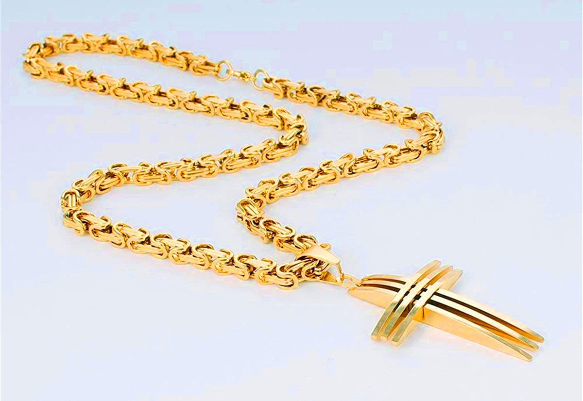 JewelBeauty Stainless Steel Necklace Mens Gold Tone Cross Pendant Byzantine Chain 18-36 inches