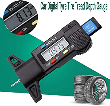 Battery Included PUMPKIN Digital Tyre Tread Depth Gauge Range at 0-25.4mm with Large LCD Display Inch//MM Adjustable Tread Depth Measuring Tool for Motorbike Car Van
