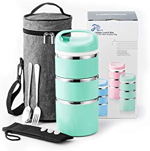 Lille Home Stackable Stainless Steel Thermal Compartment Lunch/Snack Box, 3-Tier Insulated Bento/Food Container with Upgraded Lunch Bag, Portable Cutlery Set and 3 Extra Silicone Seals, 43 OZ, Green