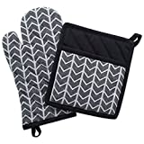 "DII 100% Cotton Jacquard Quilted Pot Holder(8x8.5"") and Oven Mitt(6.5x12"") Set, Black and White Geometric Design, Heat Resistant and Machine Washable for Every Home Kitchen-Arrow"