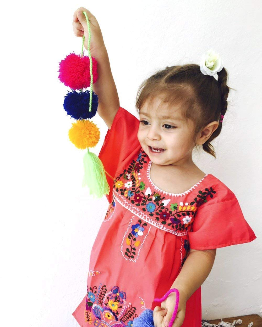 Coral Baby Girls Party Dress Fiesta Dress Mexican Embroidery