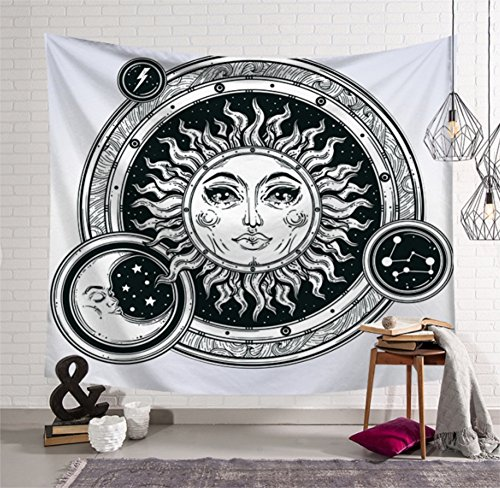 Psychedelic Celestial Indian Sun Moon Hippie Hippy Tapestry Wall Hanging Throw Tie Dye Hippie Hippy Boho Bohemian Wall Art - Window Curtain Table Cover Bedspread (78x59 inches, 3)