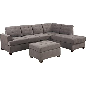 Amazon Com 3pc Modern Reversible Grey Charcoal Sectional