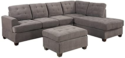 Attirant 3pc Modern Reversible Grey Charcoal Sectional Sofa Couch With Chaise And  Ottoman