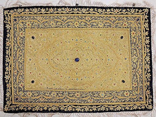 - Jewel Carpet Wall Hanging Decoration - Kashmir Gold Zardozi Embroidery and Embellished Semi Precious Stone Work ~ 36 Inch X 24 Inch