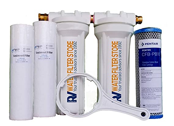 Essential RV Water Filter System with Hose Fittings - Premium RV Water Filtration System with Cyst Removal (Bracket not Included)