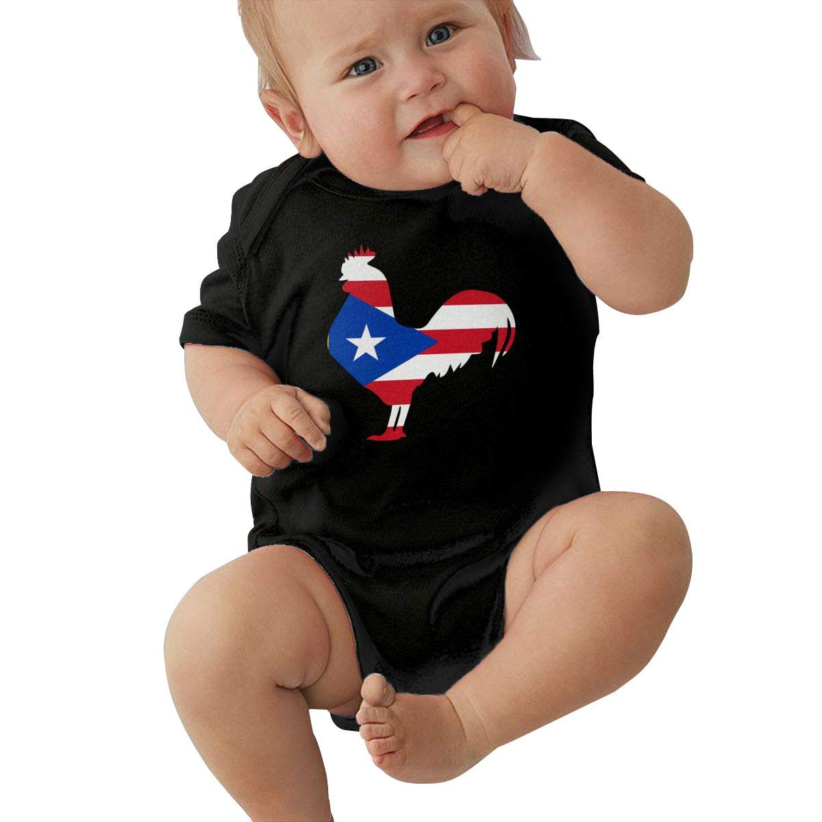 Baby Girls Short Sleeve Jumpsuit Puerto Rico Flag Rooster Infant Romper Jumpsuit