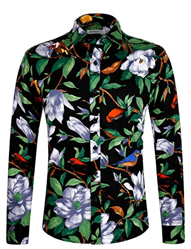 APTRO Men's Floral Cotton Long Sleeve Casual Button Down Shirt 1006 Green L -