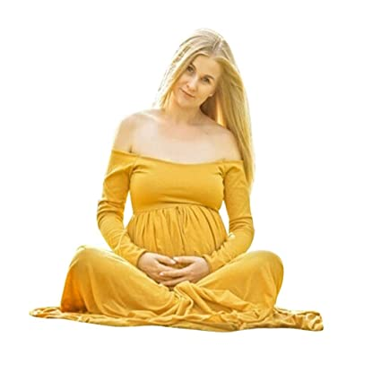 Mujeres Embarazadas Sexy Las mujeres embarazadas de maternidad fuera del hombro de la fotografía Maxi enfermería