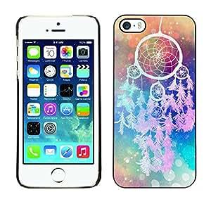 FECELL CITY // Duro Aluminio Pegatina PC Caso decorativo Funda Carcasa de Protección para Apple Iphone 5 / 5S // Catcher Art Hipster Indian Colors
