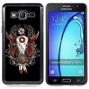 "Qstar Arte & diseño plástico duro Fundas Cover Cubre Hard Case Cover para Samsung Galaxy On5 O5 (Enfriar occidental del cráneo del búfalo Dreamcatcher"")"