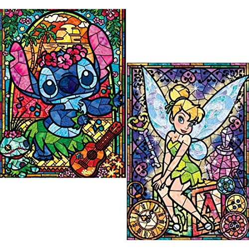 2 Pack 5D Diamond Painting Full Round Drill Kits - Stitch, Tinker Bell - DIY Diamond Painting by Number Kits, Embroidery Rhinestone Crystal Arts Craft Drawing Gift 16