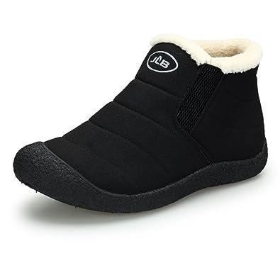 Sixspace Herren Stiefelette Schneestiefel Winterstiefel Warm Gefütterte Winterschuhe Outdoor Boots,Schwarz 42 EU
