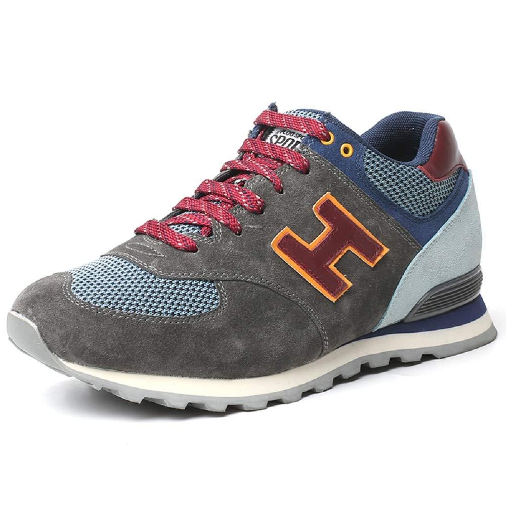Faretti Erhöhende Schuhe für Männer Sportschuhe Herren Schuhe Blau Grau Wildleder Schnürsenkel Steigerung des Wachstums um  +6 cm Modell  Ettore