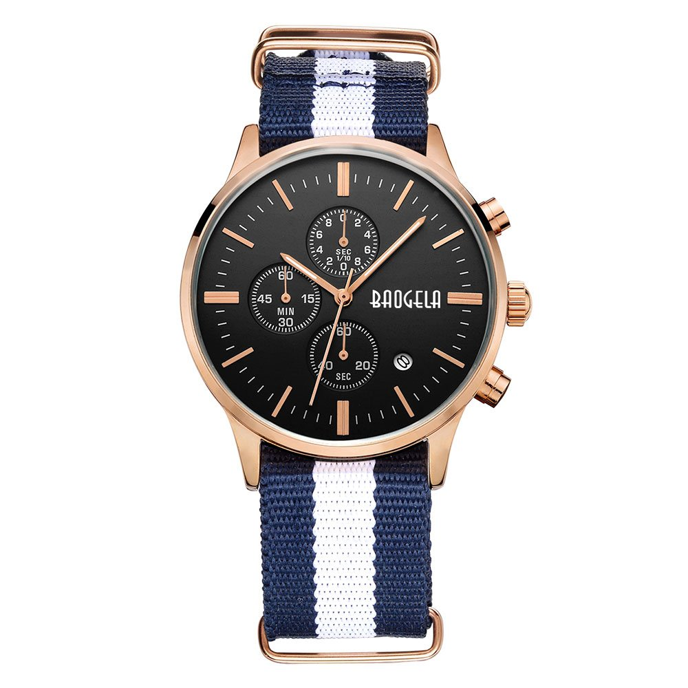 BAOGELA Mens Fashion Chronograph Calender Casual Canvas Quartz Waterproof Wrsit Watch by BAOGELA