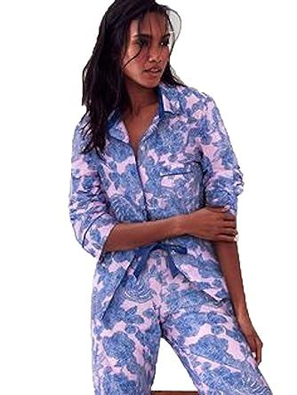 Victoria Secret Womens The Mayfair Blue Floral Sleep Pajama Set (Large)