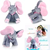surpzon Flappy Elephant Pink Peek-a-boo Elephant Singing Toy Soft Baby Plush Toy Stuffed Animated Kids
