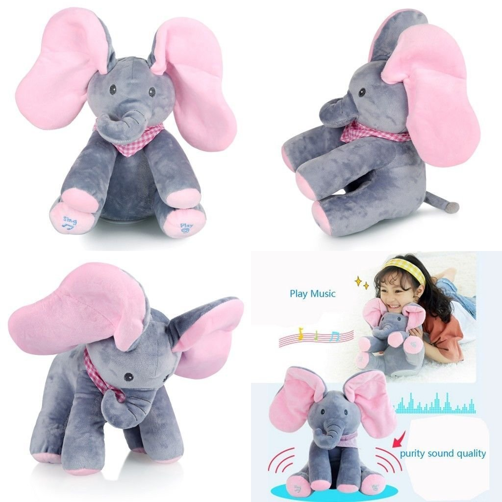 surpzon Flappy Elephant Pink Peek-a-boo Elephant Singing Toy Soft Baby Plush Toy Stuffed Animated Kids