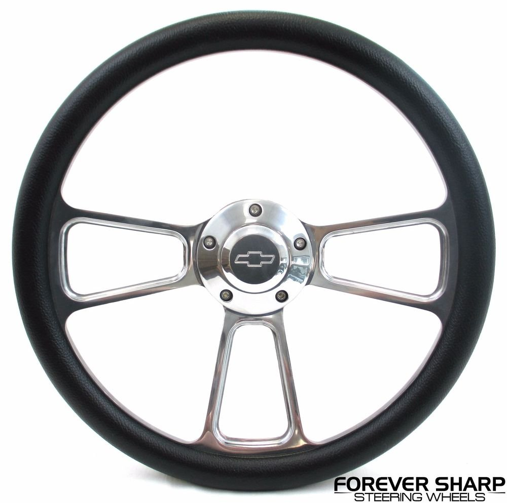 Billet Muscle Chevy Gm 69-94 Steering Wheel Set W// Chevy Engraved Horn