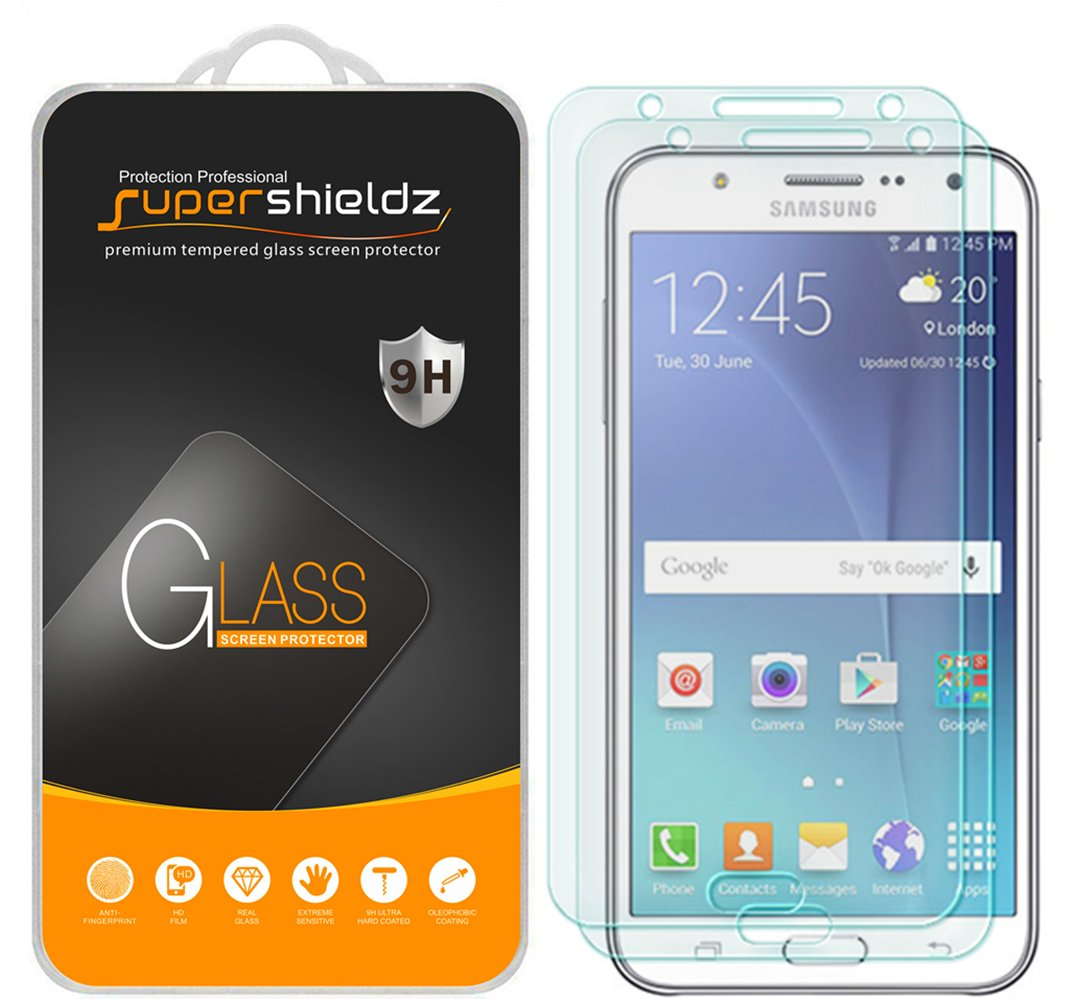"""[2-Pack] Supershieldz for Samsung """"Galaxy J7"""" Tempered Glass Screen Protector, Anti-Scratch, Anti-Fingerprint, Bubble Free, Lifetime Replacement Warranty"""