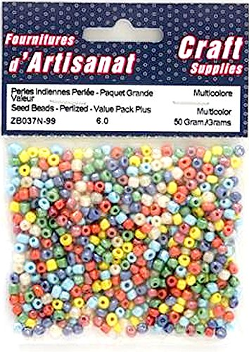 SEED BEADS VALUE PACK PEARLIZED 50 MULTI COLOURED GRAMS ARTS & CRAFTS ZB037N-99
