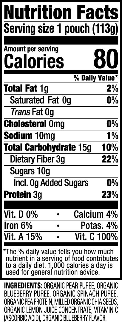 Happy Tot Organic Stage 4 Fiber & Protein, Pears, Blueberries & Spinach, 4 Ounce (Pack of 16) by Happy Baby (Image #2)